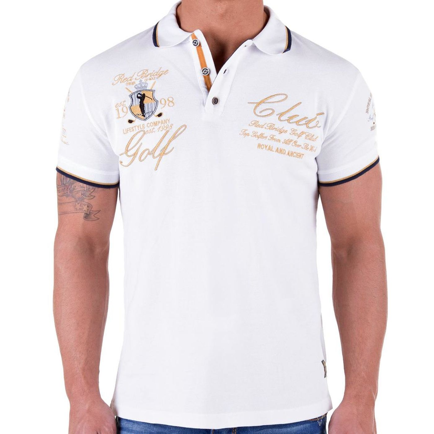 red bridge herren golf club poloshirt t shirt weiss r41209. Black Bedroom Furniture Sets. Home Design Ideas
