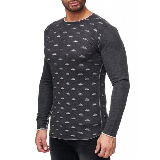 Red Bridge Mens Ripped Holes Sweatshirt Oversized Anthracite