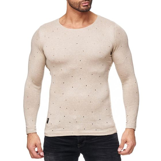Red Bridge Mens Autumn Sky Fine Knit Sweater Beige