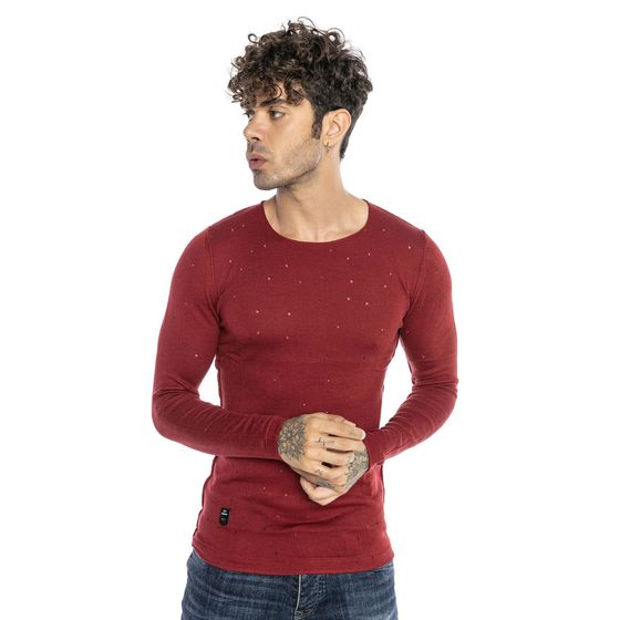 Red Bridge Herren Autumn Sky Feinstrick Pullover Bordeaux