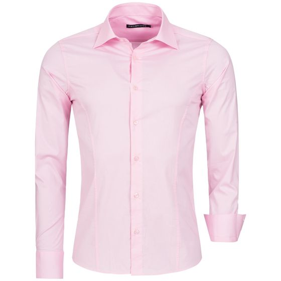 Red Bridge Herren Basic Design Slim Fit Langarm Hemd Pink