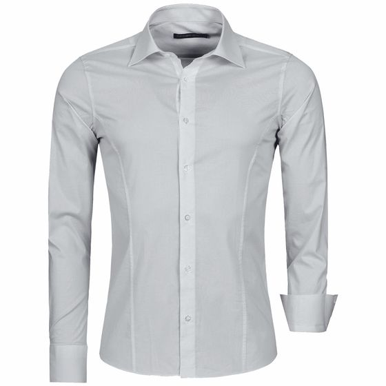 Red Bridge Mens Basic Design Slim Fit Business Shirt Grey