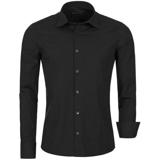 Red Bridge Mens Basic Design Slim Fit Business Shirt Black