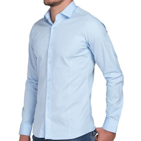 Red Bridge Herren Basic Design Slim Fit Langarm Hemd Hellblau