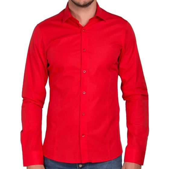 Red Bridge Herren Basic Design Slim Fit Langarm Hemd Rot