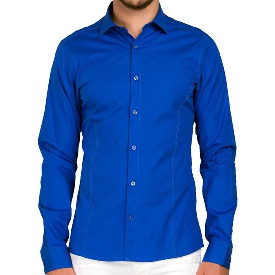 Red Bridge Herren Basic Design Slim Fit Langarm Hemd Saxeblau