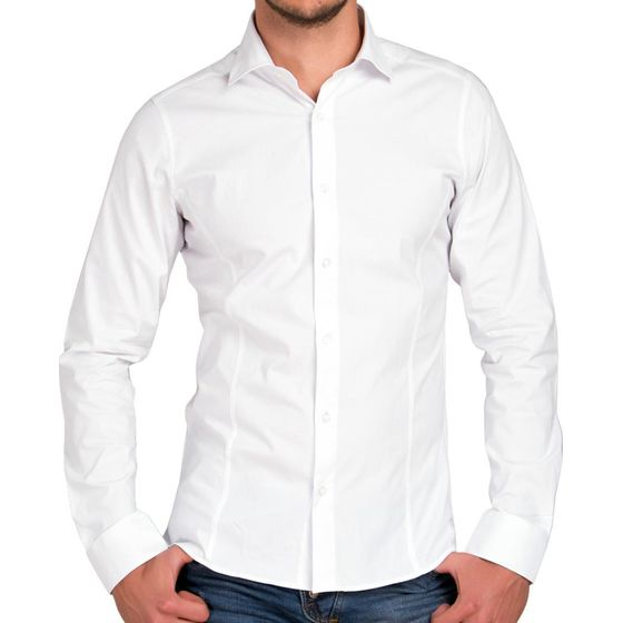 Red Bridge Herren Basic Design Slim Fit Langarm Hemd Weiß