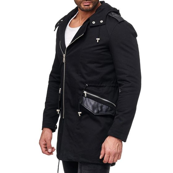 Red Bridge Mens Asymmetrical Winter Jacket Oversized Black