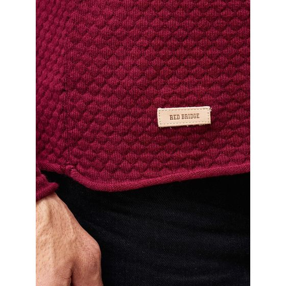 Red Bridge Herren Strickpullover Checkered Royalty Sweatshirt Bordeaux