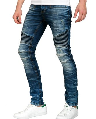 Red Bridge Herren Harsh Biker Röhrenjeans Skinny- Jeans blau