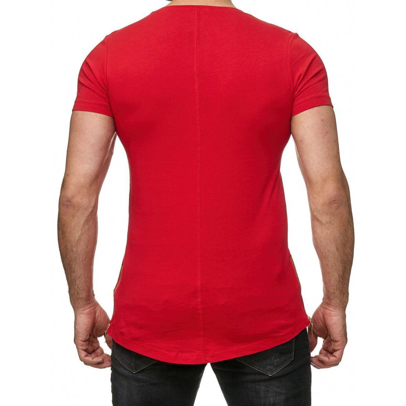 cff409fff588 Red Bridge Herren Golden Boy Oversized Long T-Shirt Rot (goldener  Reißverschluss)