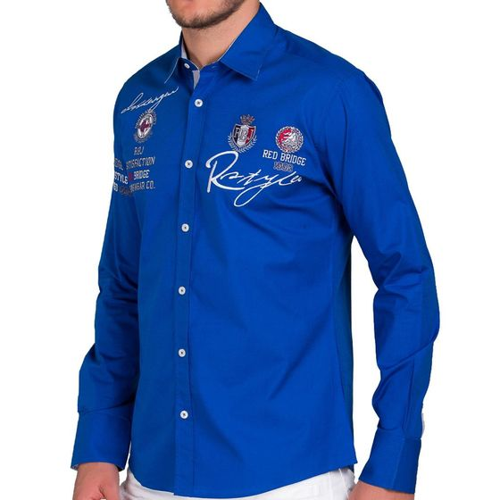Red Bridge Herren R-Style Design Regular Fit Langarm Hemd Saxeblue