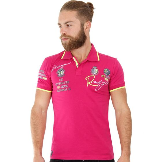 Red Bridge Herren R-Style Design Poloshirts Polo- T-Shirt Dark Fuchsia