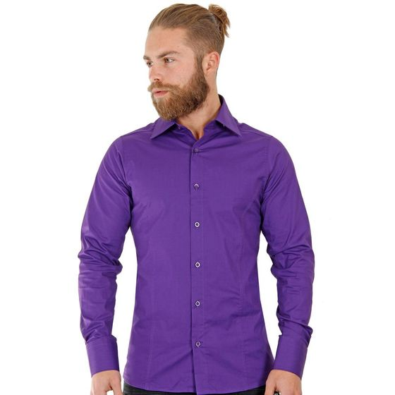 Red Bridge Herren Basic Design Slim Fit Langarm Hemd violet