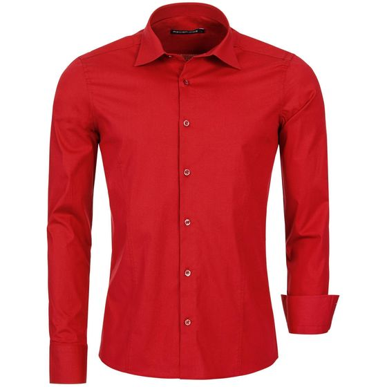 Red Bridge Mens Basic Design Slim Fit Business Shirt Red