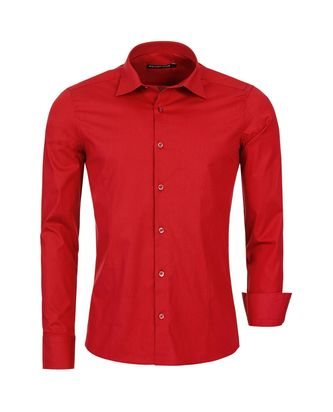 Red Bridge Herren Basic Design Slim Fit Langarm Hemd Red