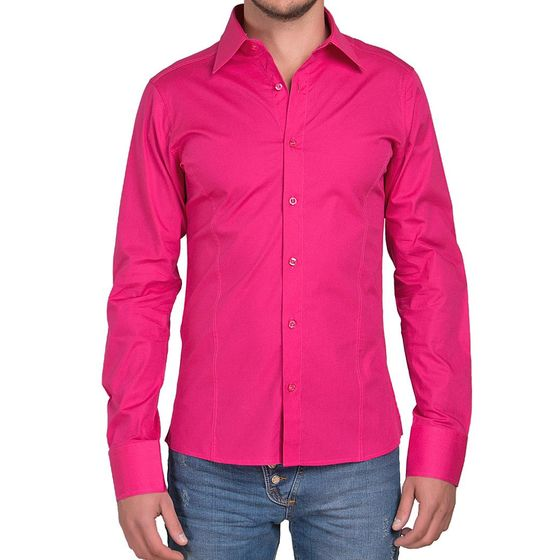 Red Bridge Herren Basic Design Slim Fit Langarm Hemd Fuchsia