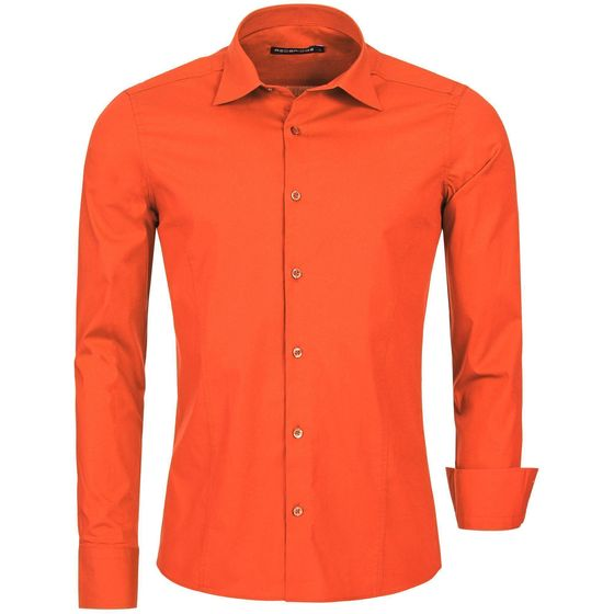 Red Bridge Herren Basic Design Slim Fit Langarm Hemd Coral