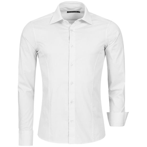 Red Bridge Mens Basic Design Slim Fit Business Shirt White