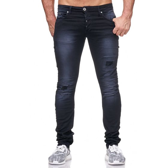 Red Bridge Herren Hose Elastico Ripped Jeans Slim-Fit Pant Schwarz
