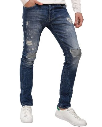 Red Bridge Herren Jeans Hose Inside Out Destroyed Blau