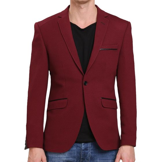 Red Bridge Herren Leather Line Sakko Blazer Bordeaux