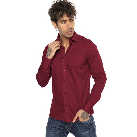 Red Bridge Herren Basic Design Slim Fit Langarm Hemd Bordeaux