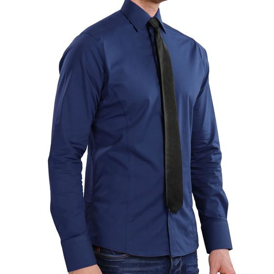 Red Bridge Herren Basic Design Slim Fit Langarm Hemd Navy