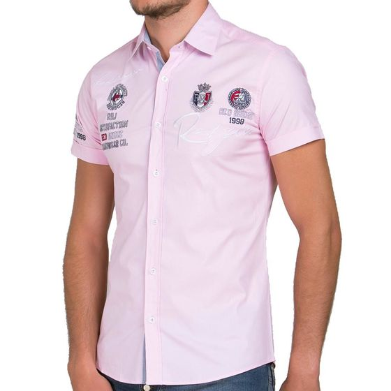 Red Bridge Herren R-Style Design Slim Fit kurzarm Hemd Pink Rosa