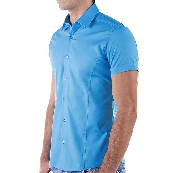 Red Bridge Herren Basic Design Slim Fit kurzarm Hemd Blau
