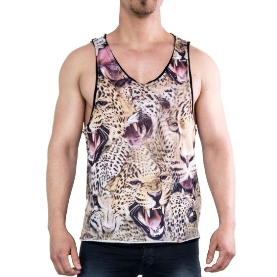Red Bridge Herren Tank Top Cheetah T-Shirt Schwarz