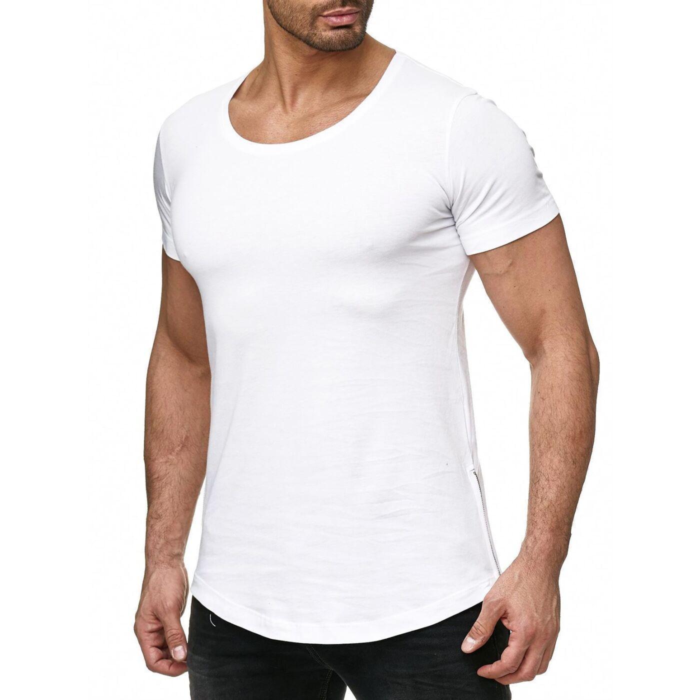 4d3565f8e253d9 Red Bridge Herren Silver Boy Oversized Long T-Shirt Weiß (silberner  Reißverschluss)