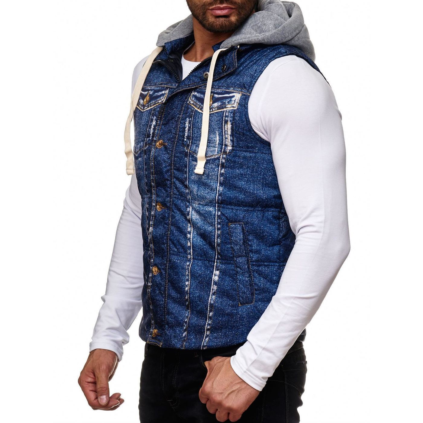 916b75a26167f0 Red Bridge Herren Denim Jeans-Look Printmotiv Weste Jacke Blau ...