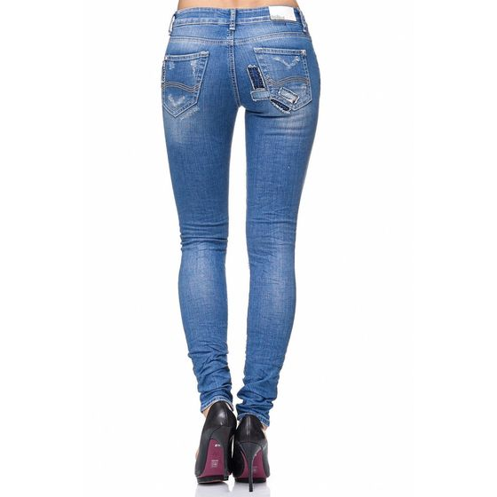 Red Bridge Women Jeans Pants Destroyed Patches Slim-Fit Pants