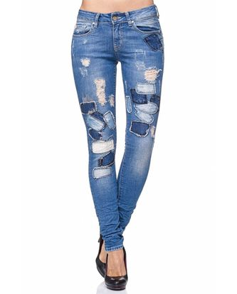 Red Bridge Damen Jeans Hose Patchwork Blau
