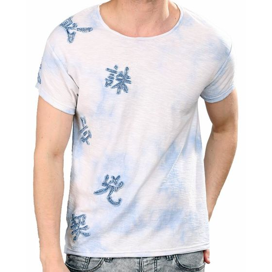 Red Bridge Herren T-Shirt Literal Sky Marmor-Look Weiß