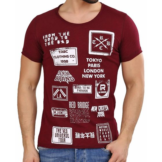 Red Bridge Herren T-Shirt From Good To Bad Bordeaux