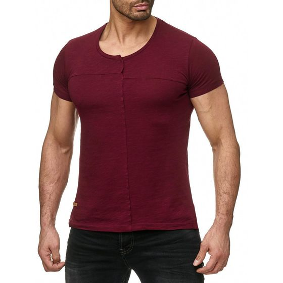 Red Bridge Herren T-Shirt Cover Page Patchwork Bordeaux Rot