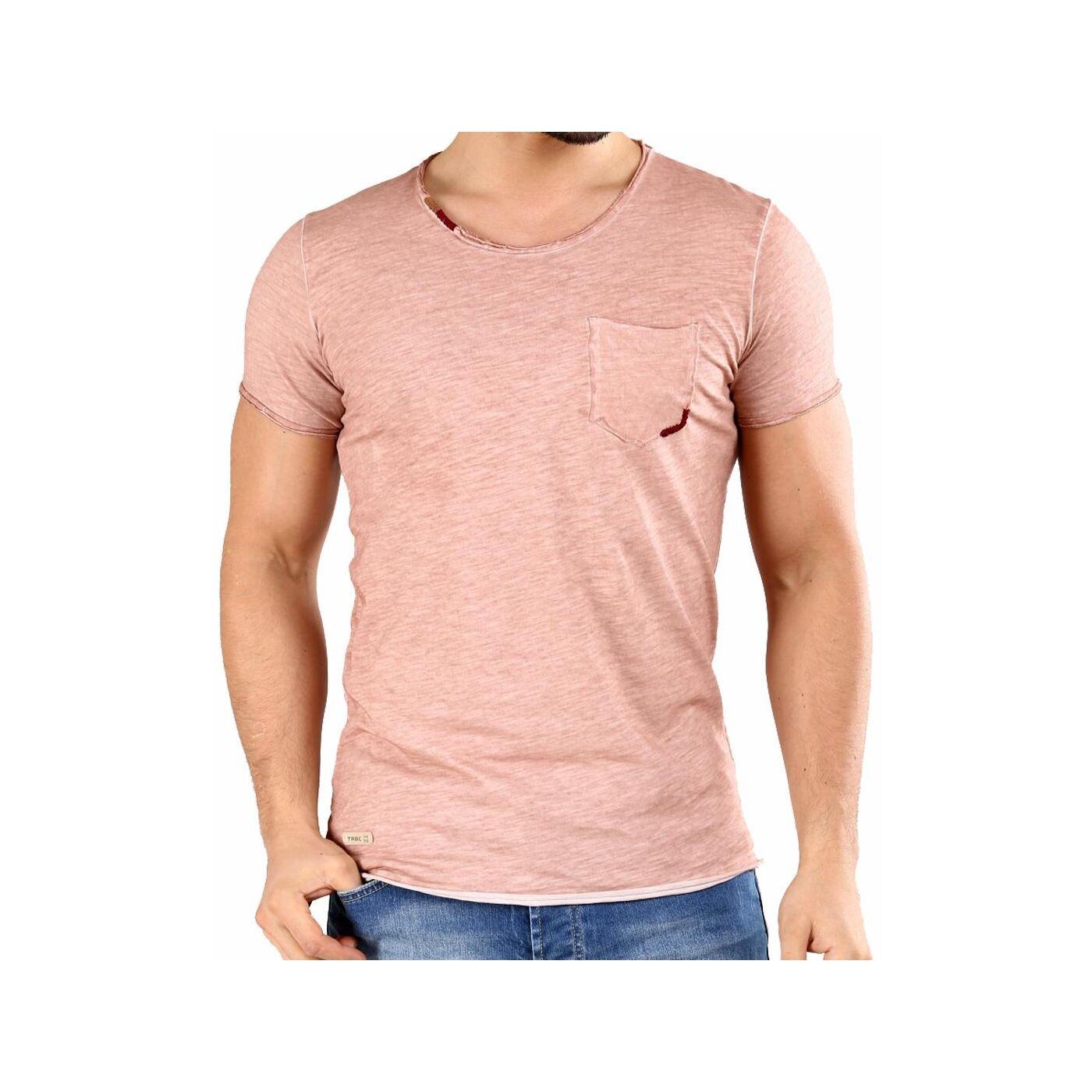 55e49133351995 Red Bridge Herren T-Shirt Thread Detail mit Brusttasche Salmon M1168 ...