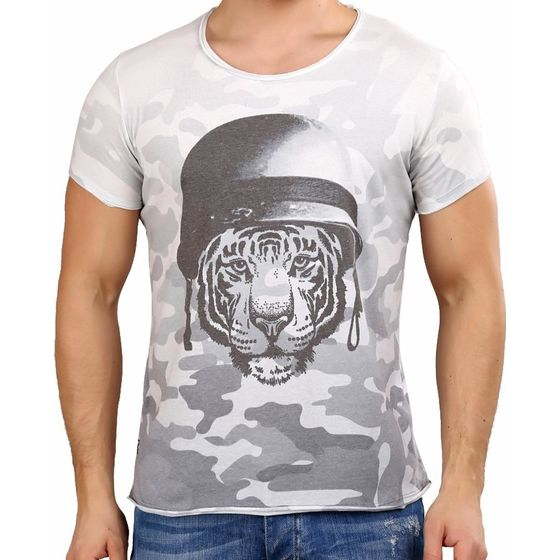 Red Bridge Herren T-Shirt Wild Tiger Camouflage Grau