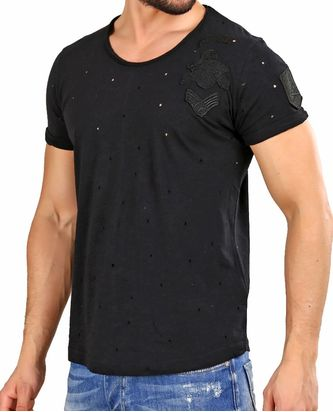 Red Bridge Herren T-Shirt Bullet Holes Schwarz
