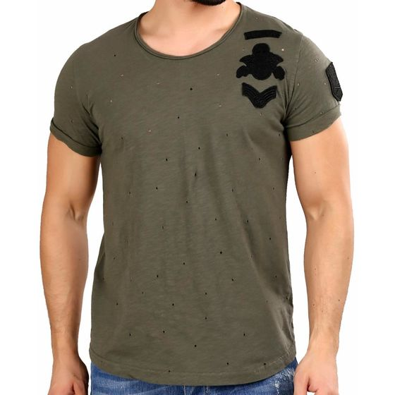 Red Bridge Herren T-Shirt Bullet Holes Khaki