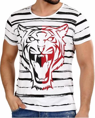 Red Bridge Herren T-Shirt Striped Tiger Weiß