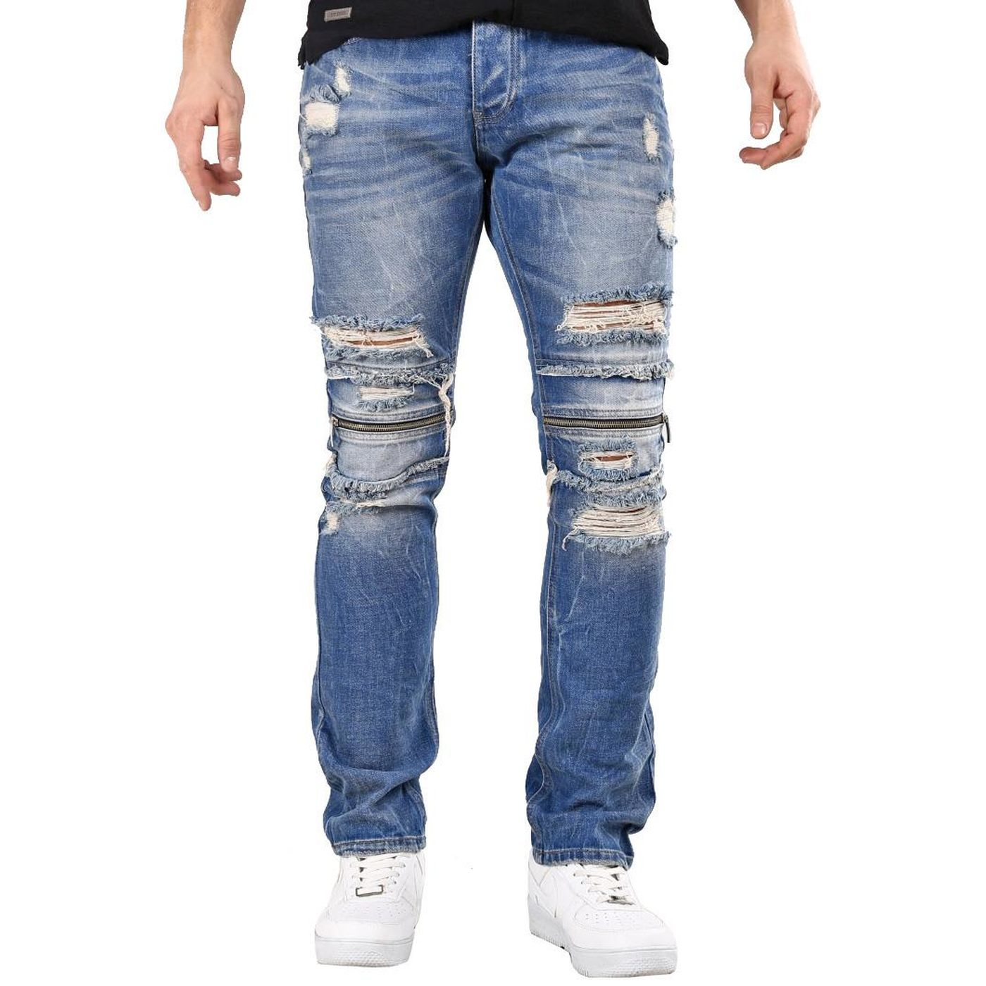 Red Bridge Herren Jeans Hose Zipper Destroyed Blau Straight Fit Used