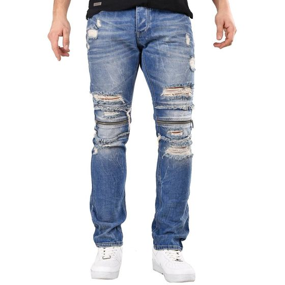 Red Bridge Herren Jeans Hose Zipper Destroyed Blau...