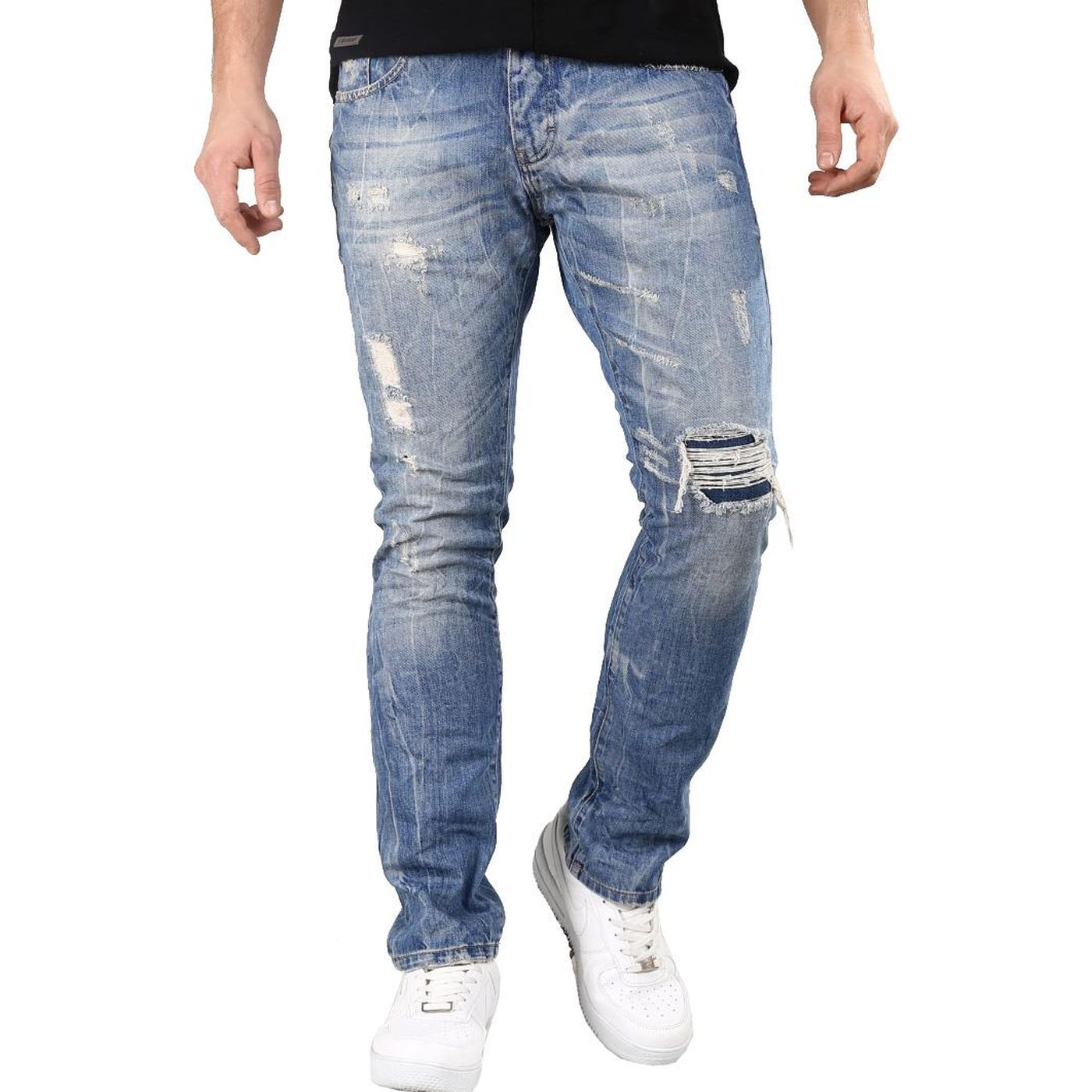 dd5f2da0d76db1 Red Bridge Herren Jeans Hose Cuts And Stitches Blau Straight Fit Used-Look  Destroyed