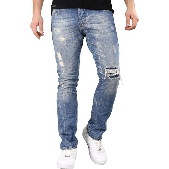 Red Bridge Herren Jeans Hose Cuts And Stitches Blau...