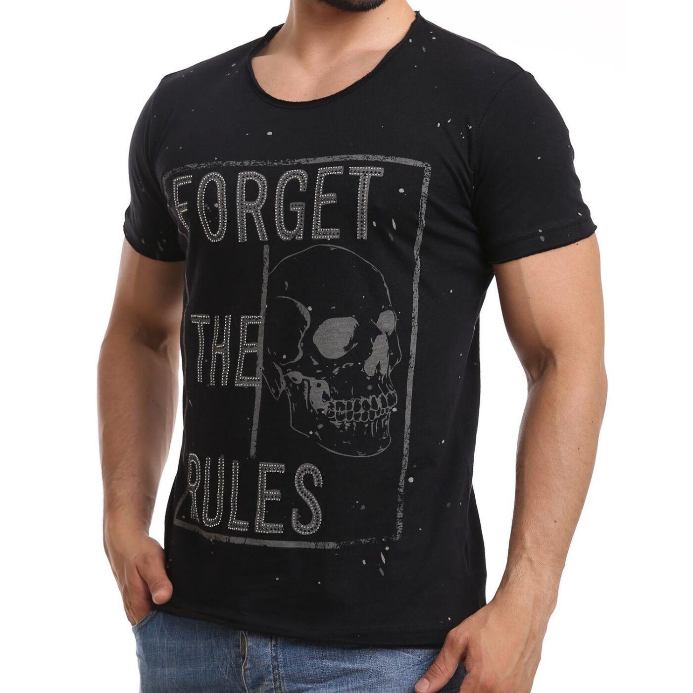 red bridge herren t shirt forget the rules skull schwarz. Black Bedroom Furniture Sets. Home Design Ideas