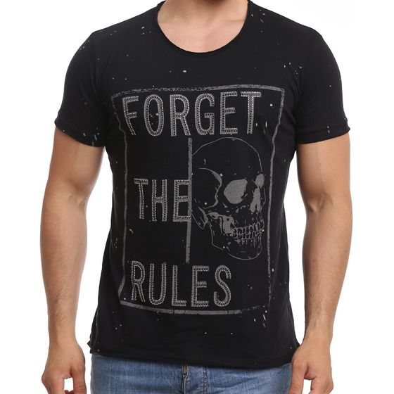 Red Bridge Herren T-Shirt Forget The Rules Skull Schwarz...