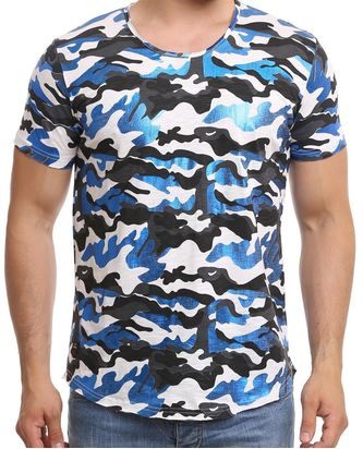 Red Bridge Herren T-Shirt Metallic Camouflage Blau